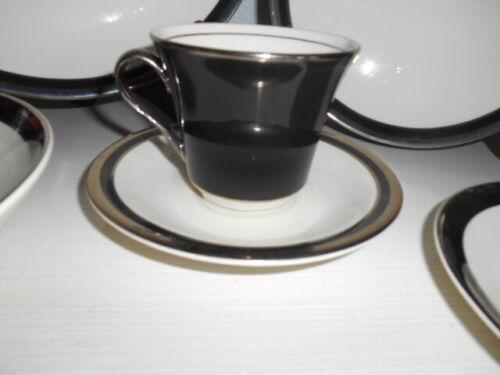 8pc SHENANGO Reynolds China 4 Cups 4 Saucers Black Platinum Trim Midnight Halo