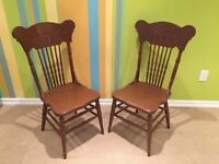 Antique vintage painted press back chairs