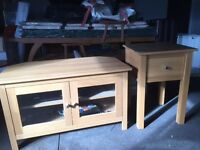 Light oak TV/DVD cabinet, matching lamp table