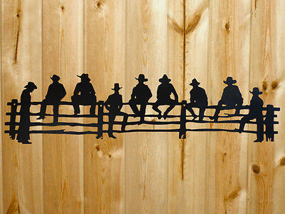 "Large Metal Steel Cowboys on the Fence Wall Art 31"" x 8"""