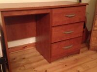 Wood effect 3 drawer desk
