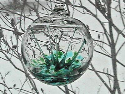 "Hanging Glass Ball 4"" Diameter Green & Aqua Tree Witch Ball (1) HB28"