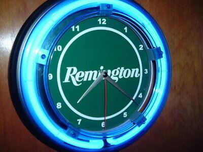 Remington Firearms Shotgun Rifle Hunting Advertising Man Cave Neon Clock Sign
