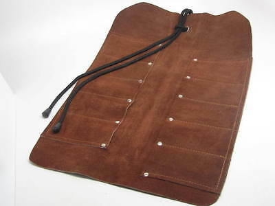 10 Pocket Leather Suede Tool Roll Wood Carving Tools Knives Gouges Chisels