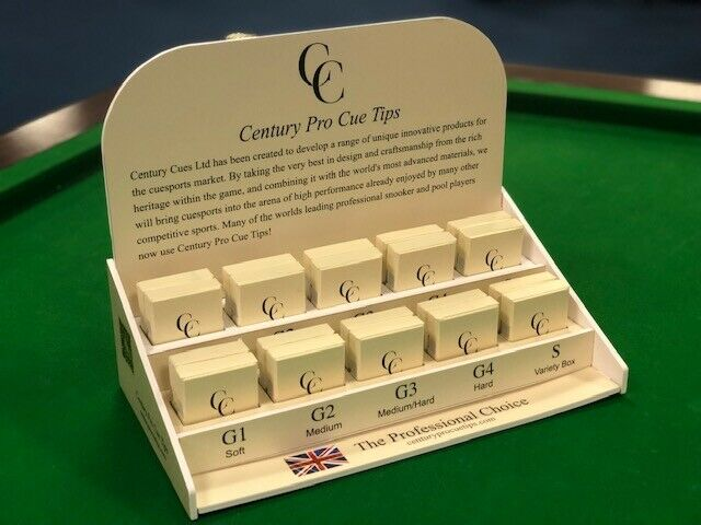 Box of 4 Century Cue Tips 10mm Snooker Pool and Cue Case Sticker..