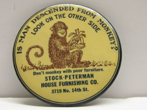 ANTIQUE CELLULOID ADVERTISING POCKET MIRROR MAN-MONKEY EVOLUTION FURNITURE STORE