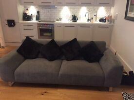 Grey Velvet Sofa from DFS