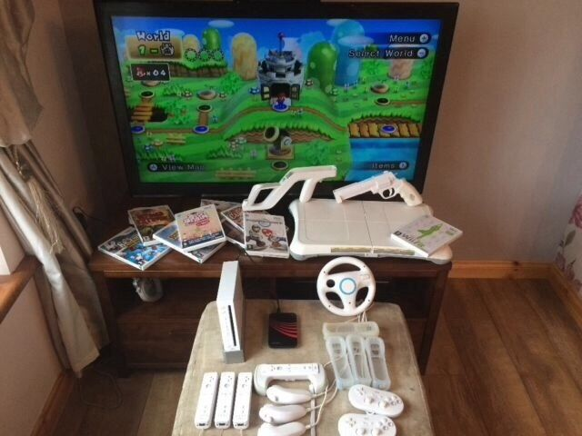 Nintendo wii with a range of accessories