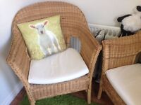 PAIR OF WICKER CHAIRS CUSHIONS INCLUDED BARGAIN £10.00 PAIR