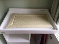 White Cot, Changing table and Nappy bin.