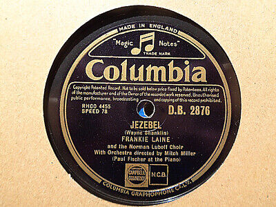 FRANKIE LAINE - Jezebel / Rose, Rose, I Love You 78 rpm disc (A++)