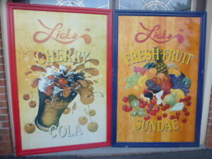 LARGE VINTAGE LICKS ADVERTISING SIGN