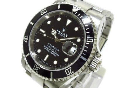 Auth ROLEX SubmarinerThe Date 16610T Black Silver Z113421 Men