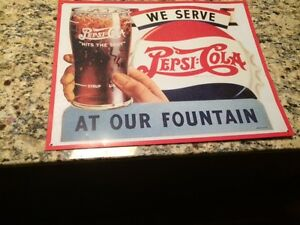 Metal Pepsi Advertising Sign $25