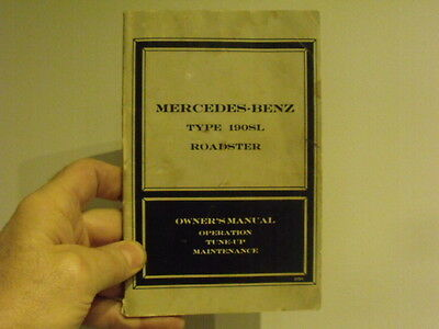 Mercedes Benz 190SL Roadster Owner service manual vintage car