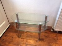 Glass and chrome corner stand