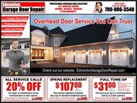 Overhead Door Service • Low Price • Same Day • Call 780-906-3540