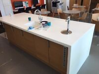 For Sale: Kitchen island unit with oak effect cabinets and Corian worktops; details: