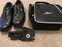 Footjoy Softjoy Leather Golf Shoes - size 10.5 / 45 W - (worn once) with a shoe bag and golf glove