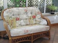 CONSERAVATORY SUITE - 2 SEATER SOFA & TWO CHAIR IN CANE AND UPHOLSTERY