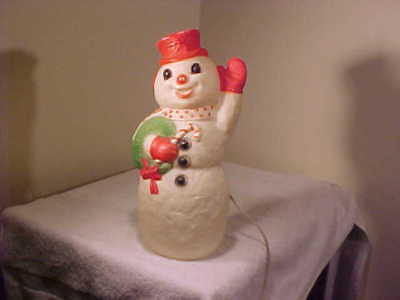 VINTAGE CHRISTMAS BLOW MOLD SNOWMAN     LIGHT UP     - Blow Up Christmas