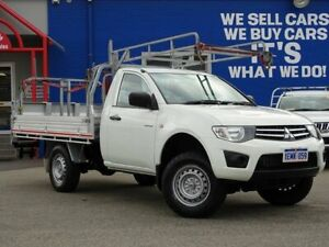 2014 Mitsubishi Triton MN MY15 GLX 4x2 White 4 Speed Sports Automatic Cab Chassis Welshpool Canning Area Preview