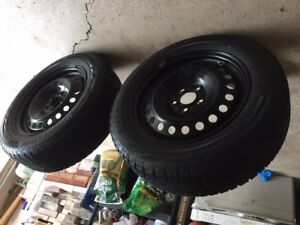 4  Bridgestone Blizzak WS 80 SNOW TIRES on rims and TPMS sensors