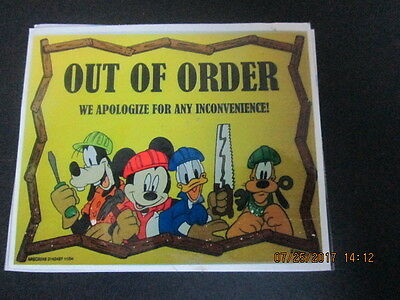 "Mickey and Friends Out of Order sticker approx 3 1/2"" x 4"""