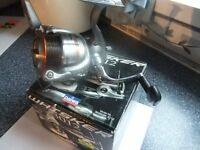 daiwa whisker 3012 fixed spool reel with spare spool complete with paper work and box