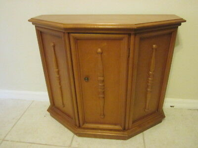 -  VINTAGE COLONIAL STYLE   WOOD CABINET FOYER TABLE ONE DOOR MAPLE FROM 1963