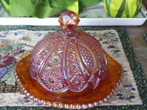 Vintage Marigold Carnival Glass Covered Butter Dish