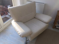 3 piece suite- 3 seat, 2 seat, 1 seat- Ivory leather look. Fantastic condition.