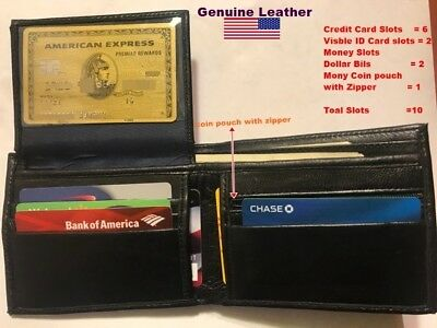 Bifold Wallet Mens Genuine Sheep Leather Black Credit Id Card Holder Slim Purse