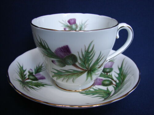 Adderley THISTLE Cup & Saucer Purple Flowers