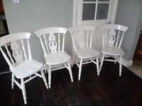 4 x Shabby Chic Vintage Fiddle Back Solid Wood Chairs up-cycled in White chalk paint & varnish