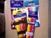 CRAFT - 4 SEALED PACKS OF EMBROIDERY THREADS (60 SKEINS TOTAL) - NEW