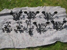 Set Of Eight Old Good Quality Wrought Iron And Ornate Wall Lights £22.00 ono