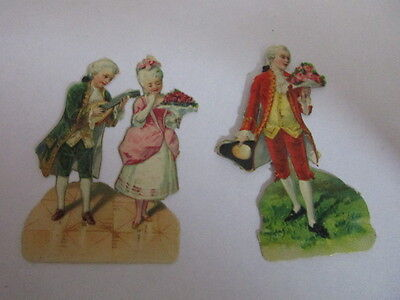 2 wunderschöne alte Präge Oblaten Glanzbild Miniatur Barock um 1910 ca. 5 cm