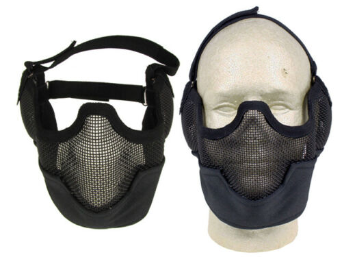Airsoft Adjustable Mesh Full Lower Head Mask Black For Airsoft