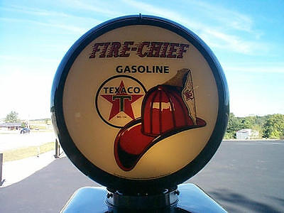 gas pump globe Texaco Fire Chief repro. 2 GLASS LENS in a BLACK plastic body