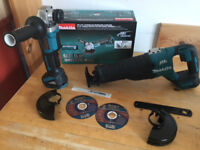 new makita 18v brushless djr187 reciprocating saw + BL paddle switch grinder. djr187z+dga455 bare