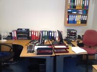 Office furniture, desks: modern and reproduction, filing cabinets, filing shelves, chairs, etc