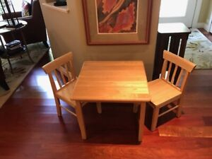 Solid Wood Childrens table and 2 chairs