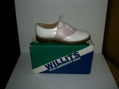 PINK and White Willit's Leather Saddle Shoes youth sizes 12.5-4 NOS made in - Pink And White Saddle Shoes