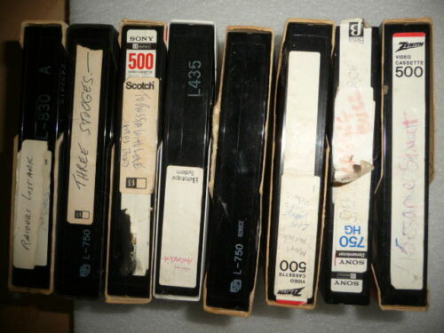 Lot of 8 Pre-Recorded VCR Video Cassettes Beta Tapes Sold As Used Blanks Vintage