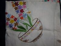 LOVELY EMBROIDERED TABLE COVERS, LINEN & COTTON, 8+ in total