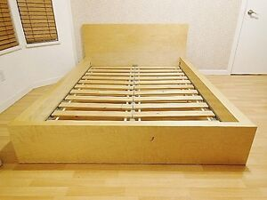 Ikea MALM Bed Frame with Slats - Low - Birch - Full Double
