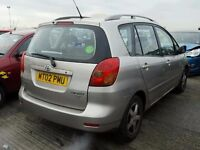 TOYOTA COROLLA VERSO 1798 CC PETROL 2003 REG 5 DOOR (BREAKING ALL PARTS AVAILABLE)