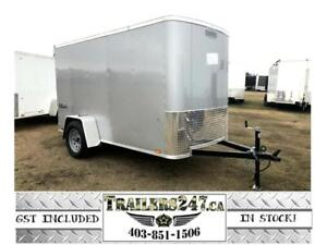 """NEW 5X10FT SILVER CARGO TRAILER - ONE PIECE ROOF, 7/16"""" WALLS"""