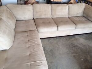 Sectional Cream Color MicroSuede Couch
